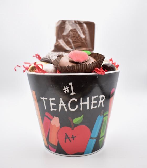 #1 teacher bucket front