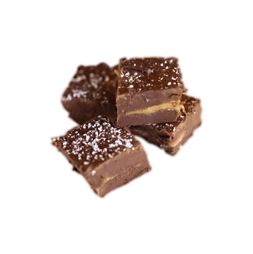 dark chocolate caramel sea salt fudge
