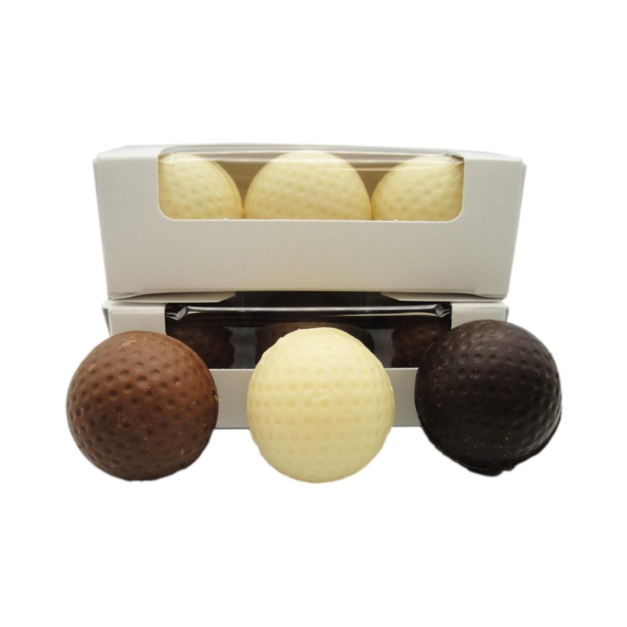 sleeve of chocolate golf balls